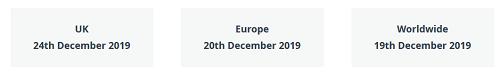 Last Christmas posting dates
