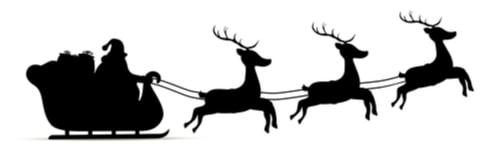 Santa on his sleigh delivering presents