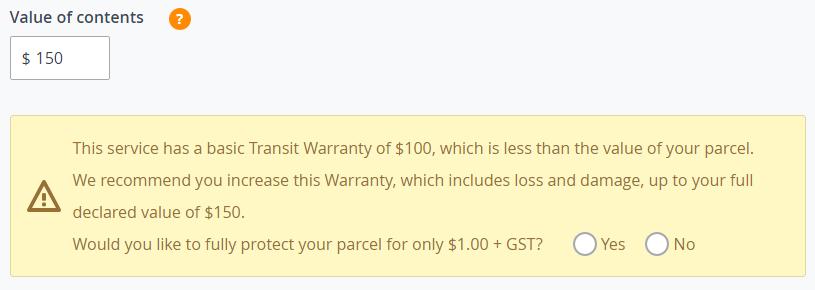 Parcel contents value