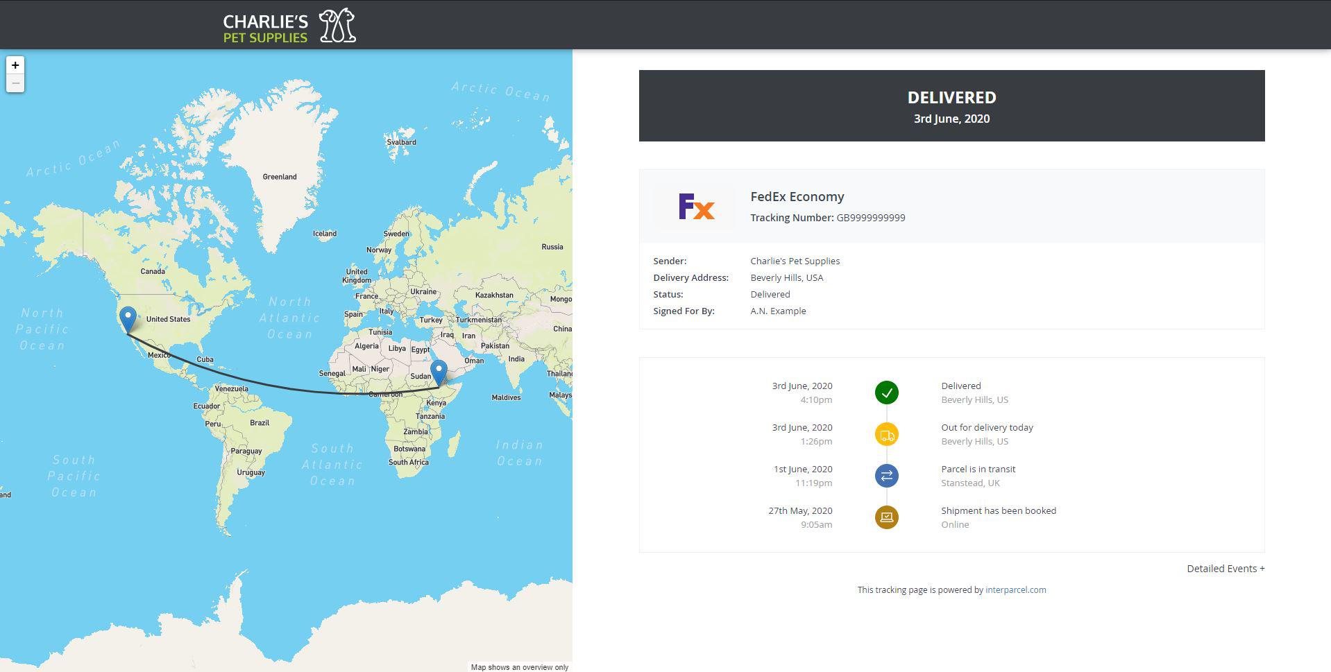 Custom tracking page